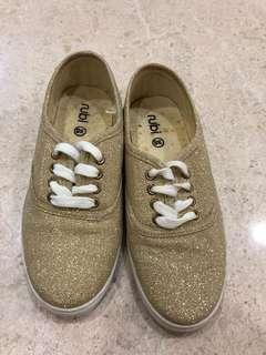 🚚 Gold glitter sneaker shoes