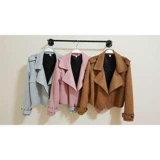 韓版麂皮軟布風衣機車騎士短版外套