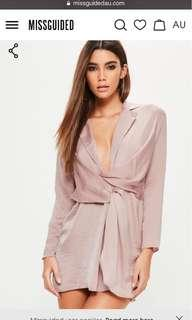 🚚 Misguided Petite Pink Hammered Satin Wrap Plunge Dress