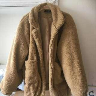 Teddy zip up coat/ reduced