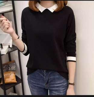 Black Collared Sweater Pullover