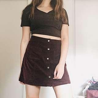 wine corduroy a-line skirt