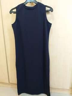 Navy Blue Dress with Side Slit