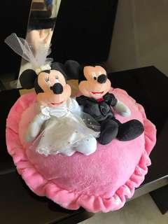 Minnie & Mickey Mouse Love Shape Wedding Ring Cushion