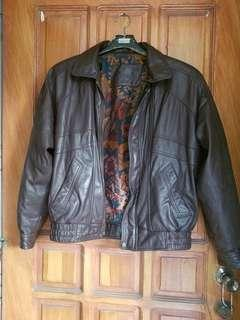 Authentic brown leather jacket for men