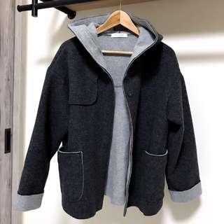 全新 正韓 韓製 韓貨 80%羊毛 羊毛大衣 羊毛外套 連帽大衣 連帽外套 斗篷 雙色 撞色 配色 輕暖 輕薄 保暖 爆暖