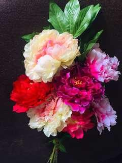 Home decorating colourful looks natural plastic flower bouquet + free lucky plant glass pot
