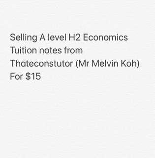 A Level H2 Economics Tuition Notes by Thateconstutor