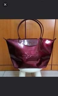 🚚 Long Champ Victorie Burgundy Long Handle Large