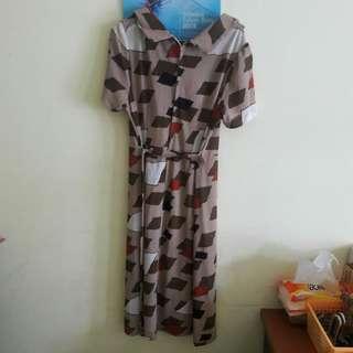 Preloved Midi Dress Big Size Muat Sampe XL Bahan Alus Adem Kaya Satin Tp Tebal