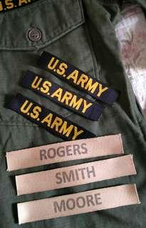 Us Army & name tapes