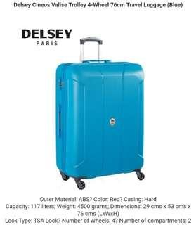 🚚 Delsey Cineos Valise Trolley 4-Wheel 76cm Travel Luggage (Blue)