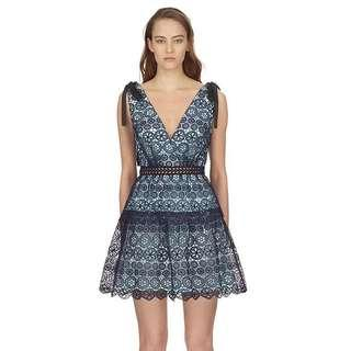 BOW-DETAILED TIERED GUIPURE LACE MINI DRESS - SELF PORTRAIT