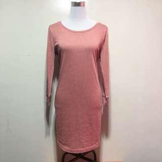 Salmon Pink Longsleeves Dress