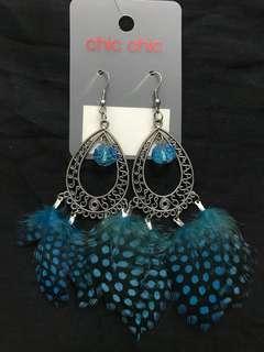 Blue Feather Silver earring #Jan50