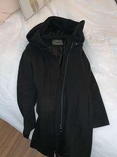 Zara black wool coat large