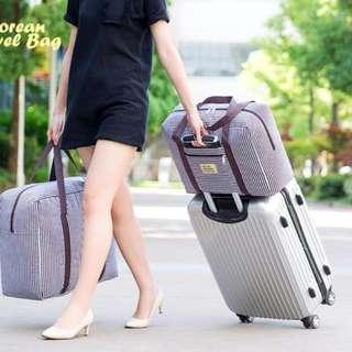 Korean Travel Bag Motif SALUR (Tas travel ukuran besar, super praktis) - Fuchsia