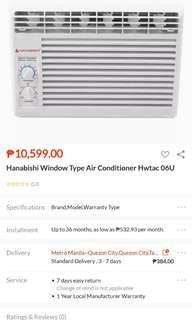 0.6 HP Window type airconditioner