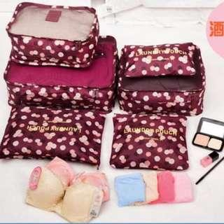 Traveling Bag in Bag Organizer (1 set isi 6 pcs )(ukuran lebih besar) - navy flower