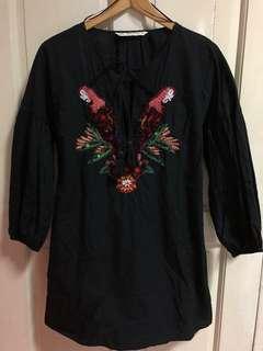 Zara Parrot Embroidered Romper Dress