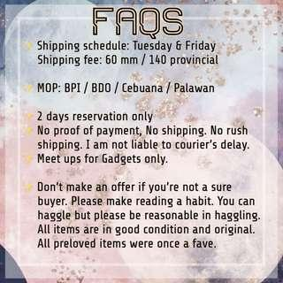 Updated FAQs 🙂 will be posting new items in a bit!