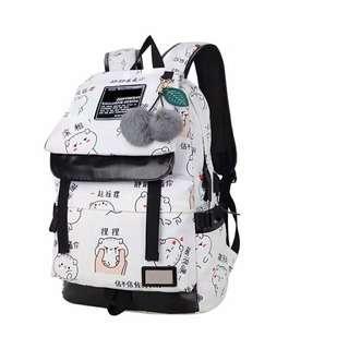 Tss backpack kartun korea tutup tanpa pompom