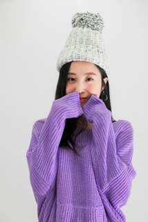 🚚 [二手]粉紫針織連帽上衣