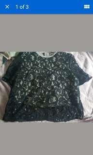 carven blue lace top size 42