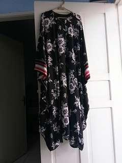 Gamis black n white strapped hand