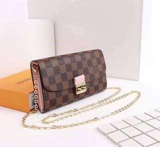 Louis Vuitton Monogram, Pink with Gold Chain Sling Bag