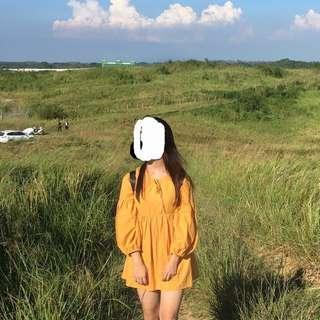 🚚 橘黃色澎澎袖洋裝#一百均價