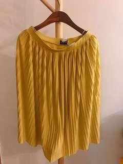 Monki Mustard Pleated Midi Skirt 芥末黃百褶裙