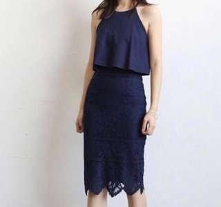 (BN) Navy Blue Eyelash Lace Mesh Halter Dress