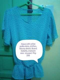 Aqua polka dots chiffon blouse
