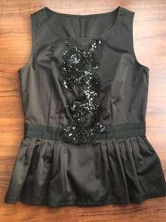 Top with sequins, Black, Size XS/S, black, New