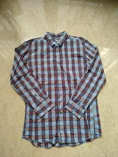 🚚 Uniqlo Long Sleeve Shirt M Blue Checkered