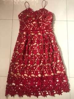 REPRICED Self Portrait Lace Dark Red Dress