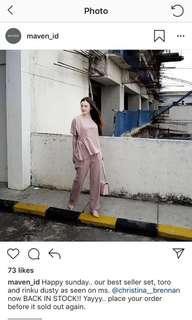 Dusty pink long pants by maven