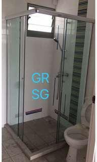 Corner entrance - Sliding tempered shower screen