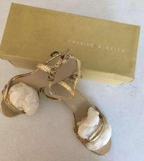 SALE PRICE ! Metallic Gold Strappy Heels