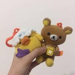 拉拉熊玩偶吊飾+小雞玩偶吊飾