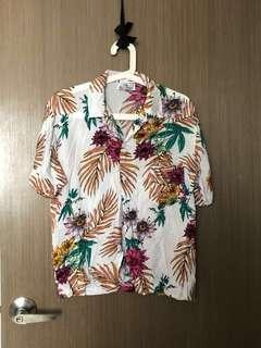BNIP White Tropical Button Up Blouse/Shirt