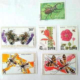 [1028] Mixed Insects Stamps - Various Countries