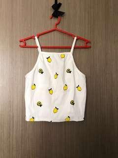 BNIP knitted lemon printed crop top