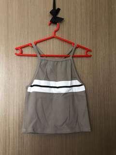 BNIP grey stripe knitted crop top