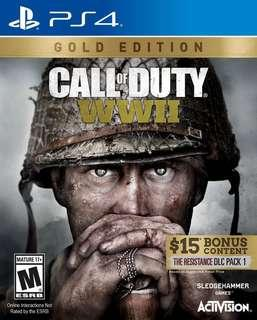 PS4 games Call of duty WWII WW2 Gold edition World war 2