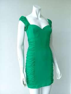 Green Side Ruched Dress