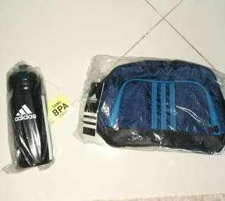 Adidas toiletries bag and bottle