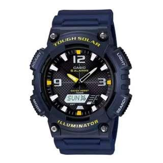 Casio Men's Analog Digital Tough Solar Blue Resin Strap Watch