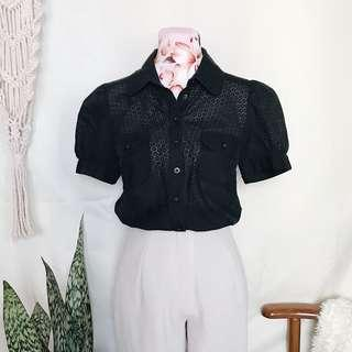 French Connection Eyelet Babydoll Blouse